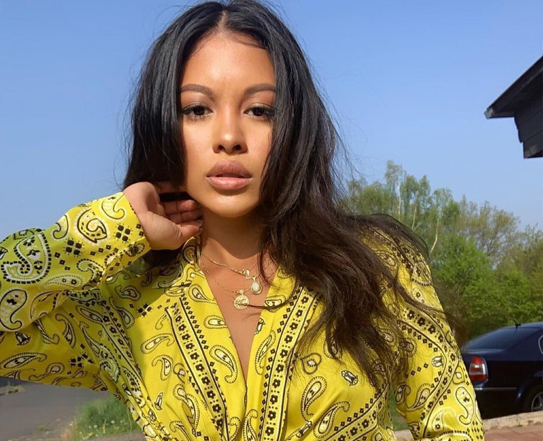 Chris Brown's Baby Mama, Ammika Harris Shows Off A Lot Of Skin In This New Challenge – See Her Deep Cleavage