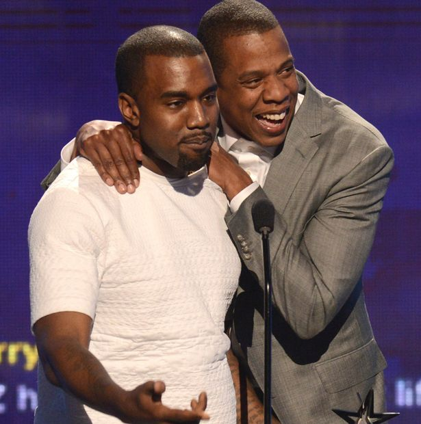 Recording artists Kanye West (L) and Jay-Z