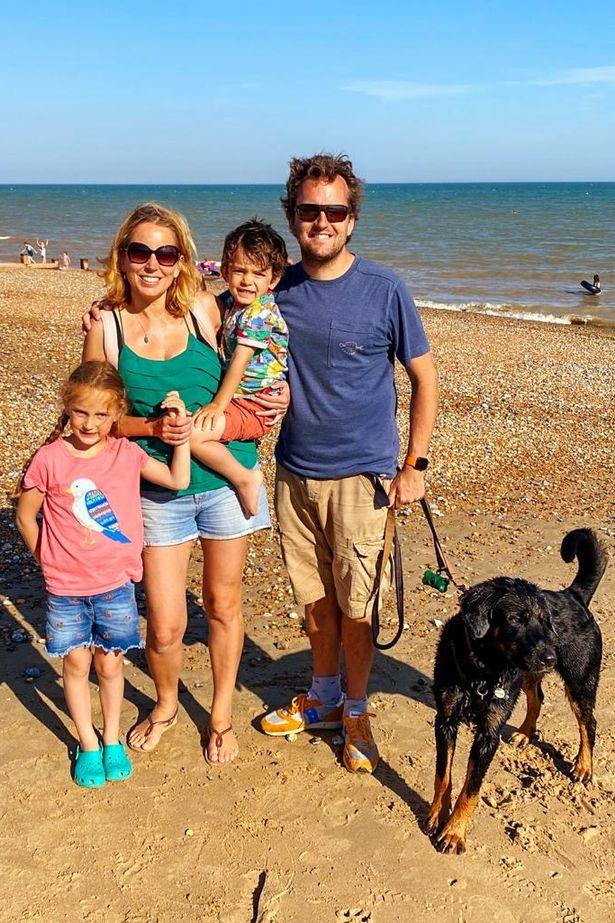 ITV presenter Jasmine Harman with husband Jon and their children and pet dog
