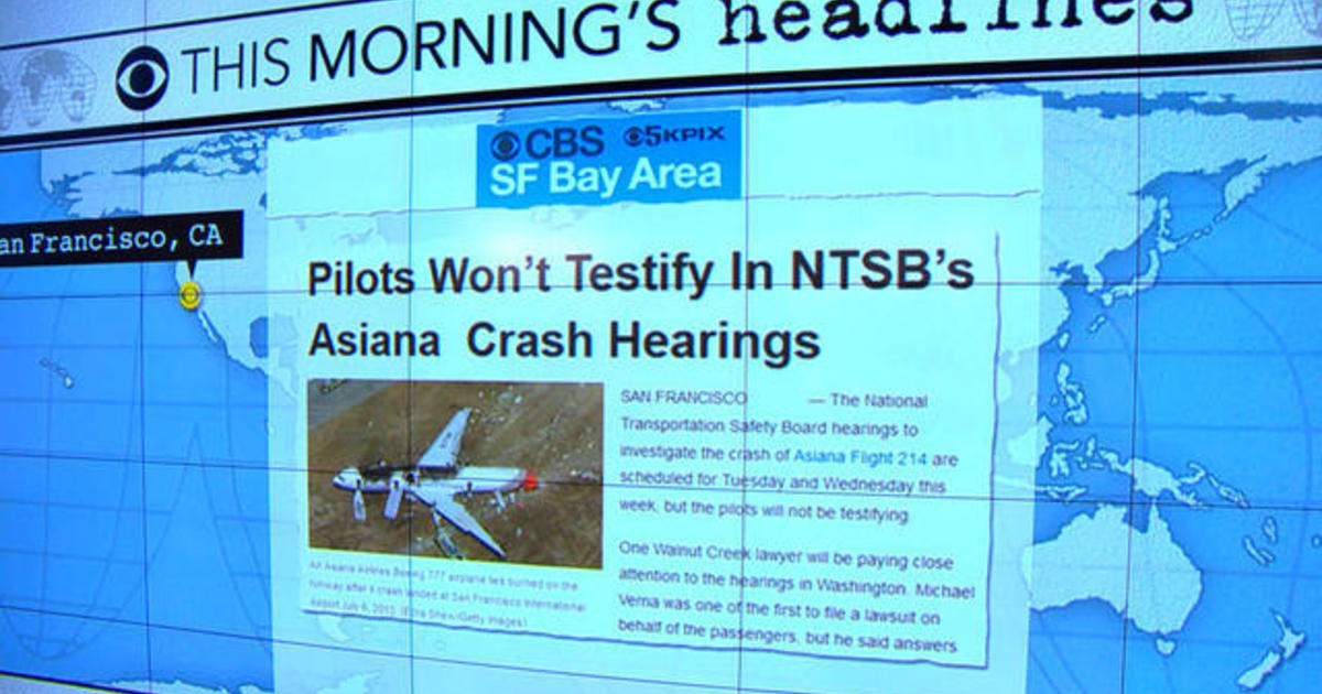 Headlines: Asiana Airlines pilots will not testify at federal hearing