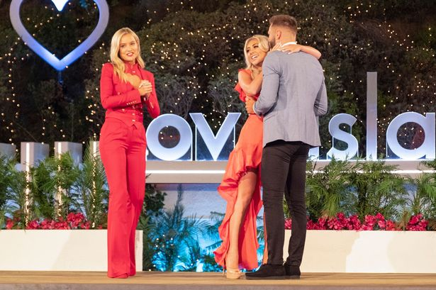 Laura Whitmore announcing the winners Paige Turley and Finley Tapp at the Love Island final in South Africa