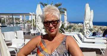 Denise Welch, 62, shows off age-defying body in plunging snake print swimsuit