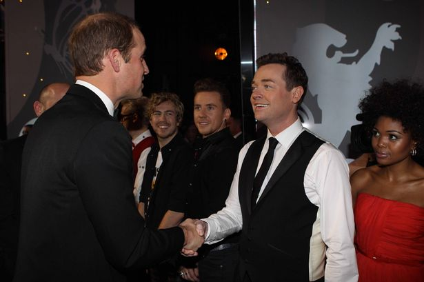 Prince William and Stephen Mulhern at the Royal Variety Performance, show, London Palladium, 2014