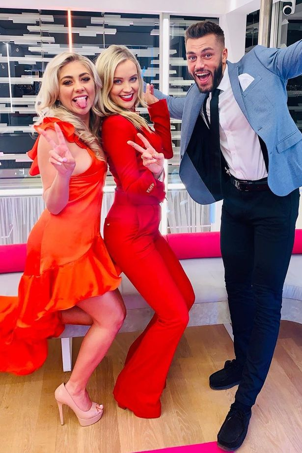 Laura Whitmore with the Love Island winners Paige and Finley