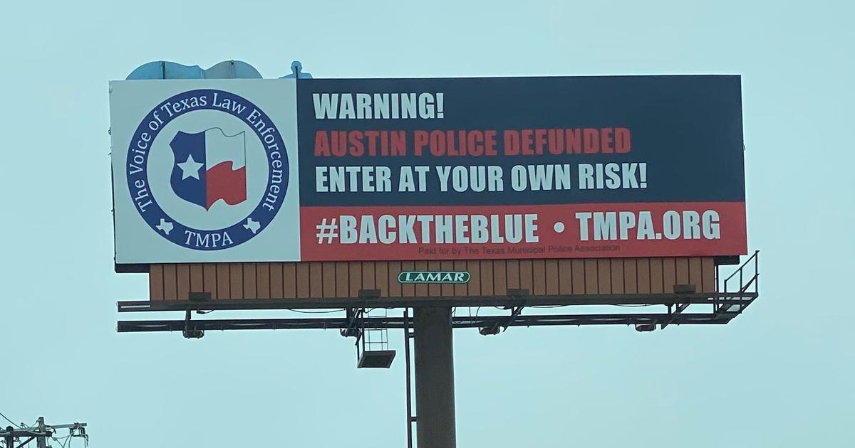 """Texas police group puts up billboard warning """"enter at your own risk,"""" saying Austin defunded police"""