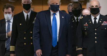 "Trump says he wears masks ""when needed"" and mocks Biden's masks"