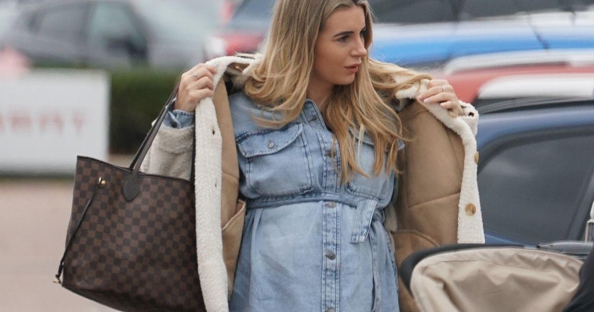 Pregnant Dani Dyer gets pram-pushing practise on lunch date with Georgia Steel