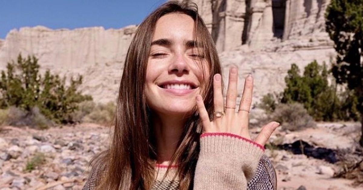 Lily Collins shows off engagement ring as she details fairytale proposal