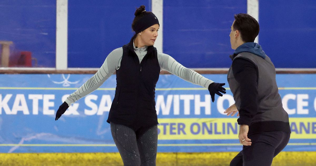 DOI's Rebekah Vardy looks nervous as she's pictured skating for first time