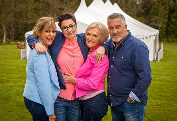 Mel and Sue hosted the original Bake Off with judges Mary Berry and Paul Hollywood