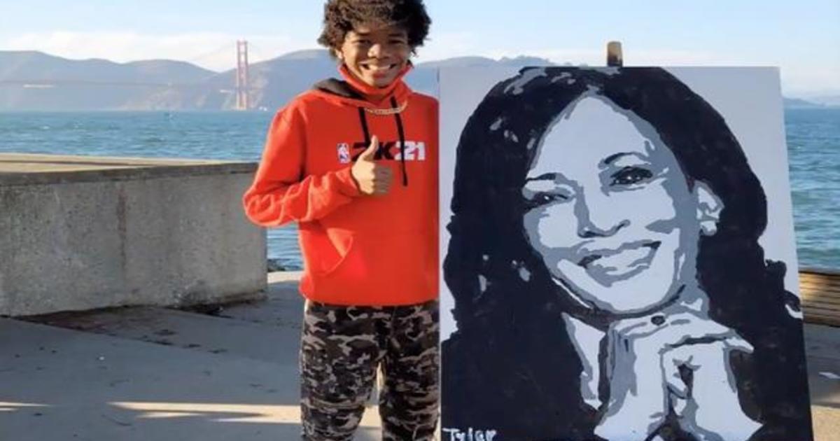Kamala Harris calls teen artist who painted her portrait