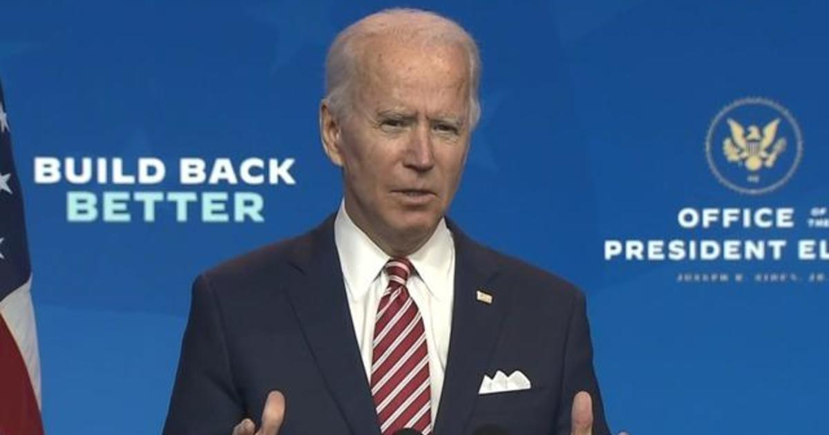 President-elect Joe Biden says COVID must be under control for the economy to recover