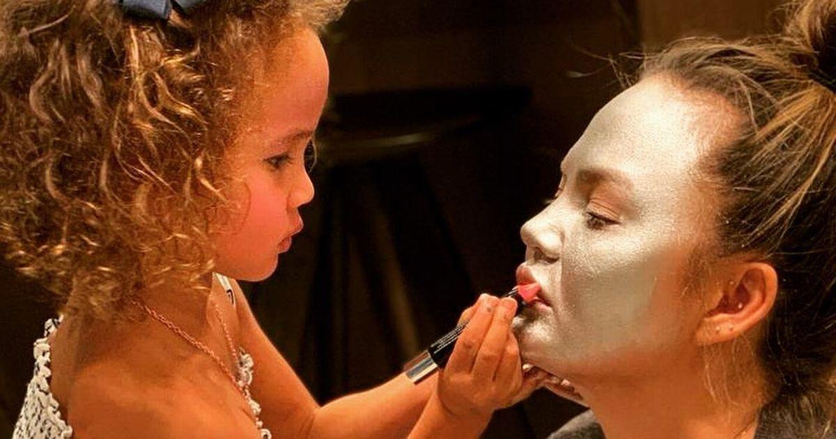 Chrissy Teigen's daughter Luna's artistic flair as she paints her parents' faces