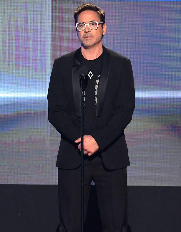 Actor Robert Downey Jr. speaks onstage